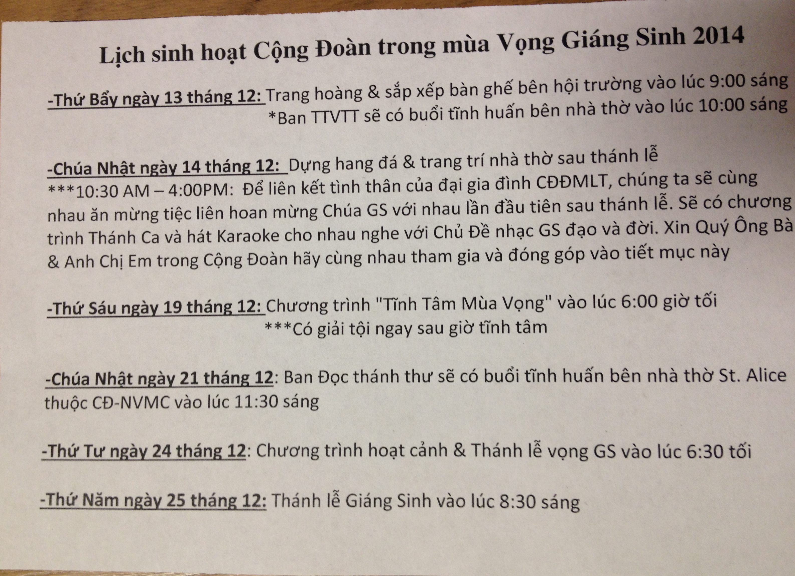 Lich sinh hoat thang 12