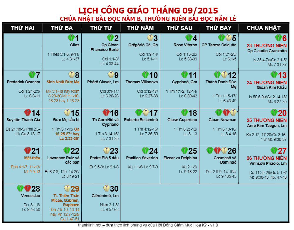 lich cong giao thang 9
